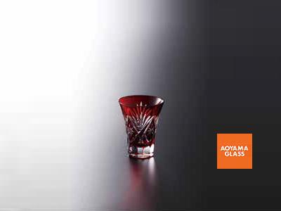 酒器・徳利/【青山硝子】切子杯・赤 80cc