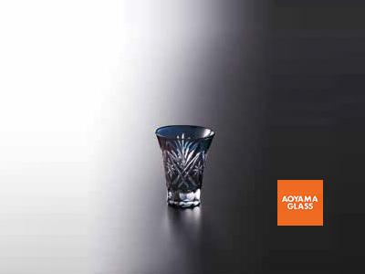 酒器・徳利/【青山硝子】切子杯・藍 80cc