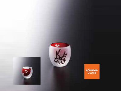 酒器・徳利/【青山硝子】くまどり ぐい呑・赤 100cc